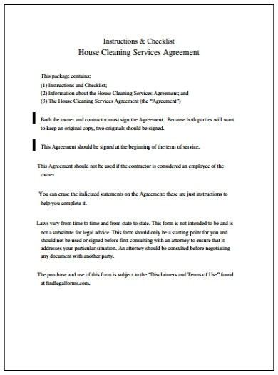 house contract template  Best Cleaning Service Agreement Templates - PDF | Free ..