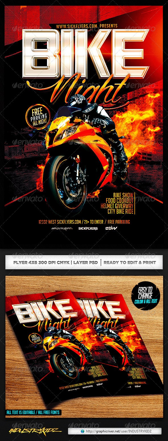 bike night flyer template free  Bike Night Flyer Template - Events Flyers - bike night flyer template free