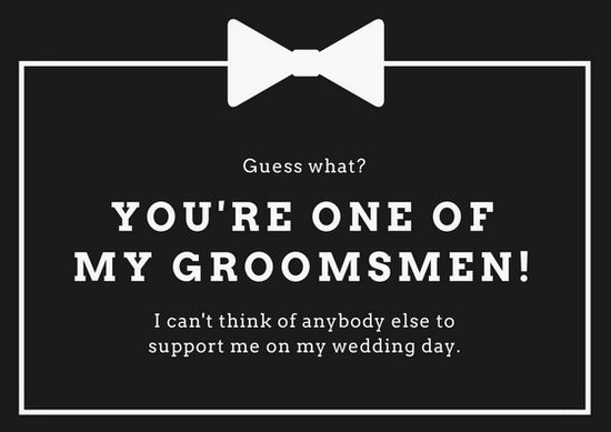 groomsmen proposal template  Black and White Wedding Groomsmen Card - Templates by Canva - groomsmen proposal template