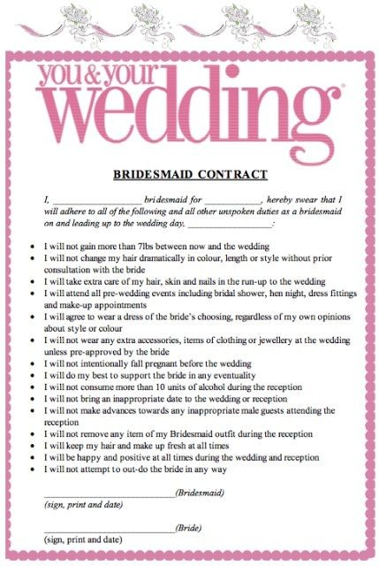 joke contract template  bridesmaids contract funny - Google Search | Bridesmaids ..