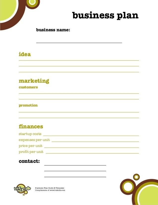 business plan template for kids  Business Plan For Kids | Business Plan Template within ..