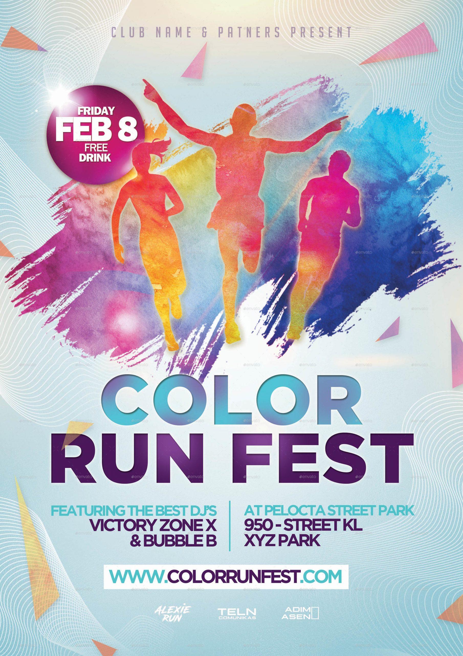 flyer template color run poster  Color Run Festival Flyer Template by adimasen | GraphicRiver - flyer template color run poster
