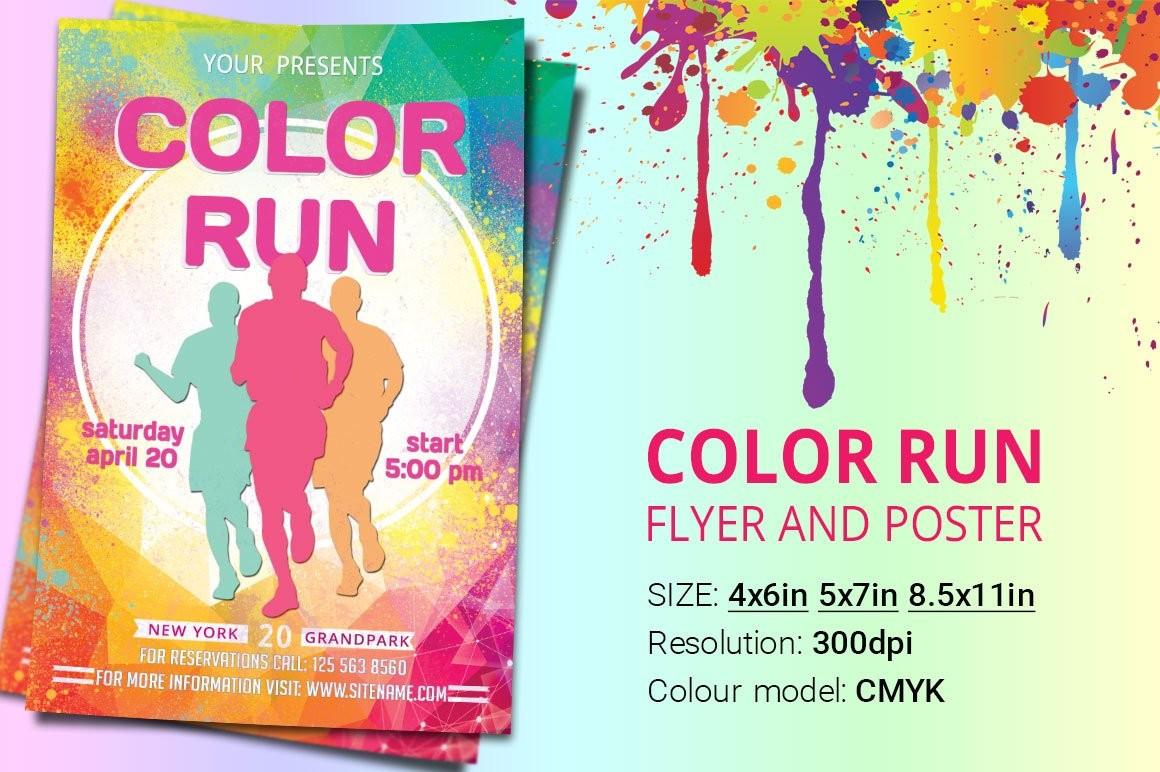 flyer template color run poster  Color Run Flyer And Poster ~ Flyer Templates ~ Creative Market - flyer template color run poster