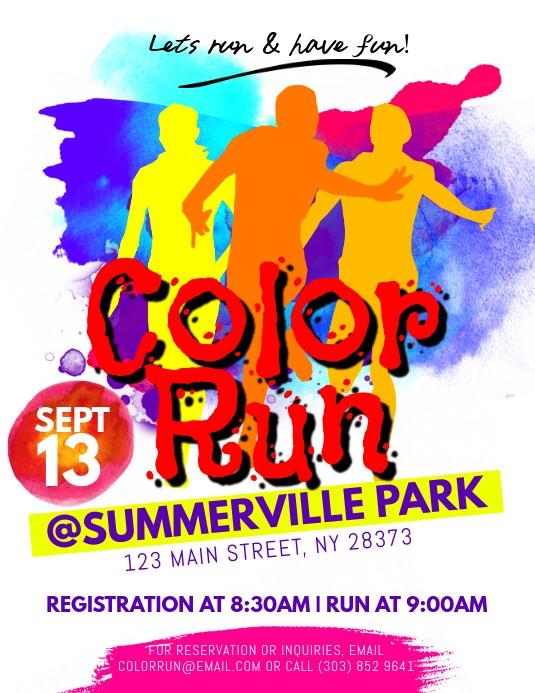 flyer template color run poster  Color Run Flyer Template | PosterMyWall - flyer template color run poster