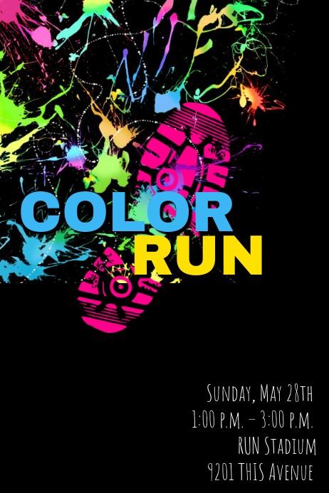 flyer template color run poster  Color Run Template | PosterMyWall - flyer template color run poster