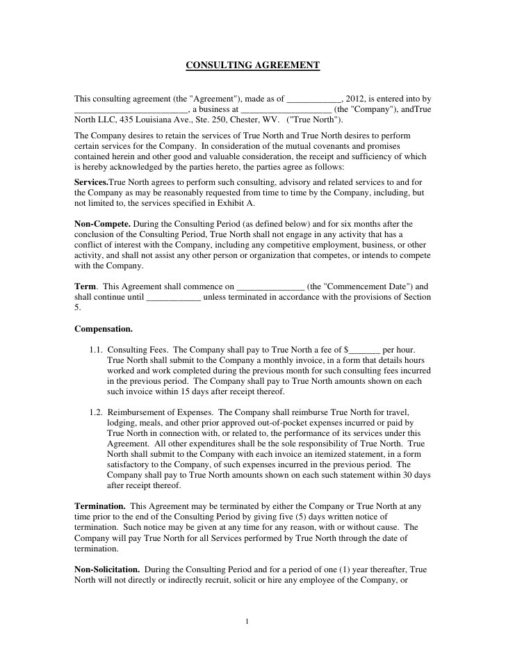 one year contract template  Consulting agreement - one year contract template
