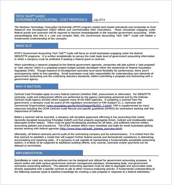 government proposal template  Cost Proposal Template - 15+ Free Word, Excel, PDF Format ..