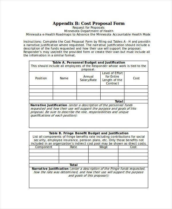 cost proposal template  Cost Proposal Templates - 7+ Examples in Word, PDF - cost proposal template