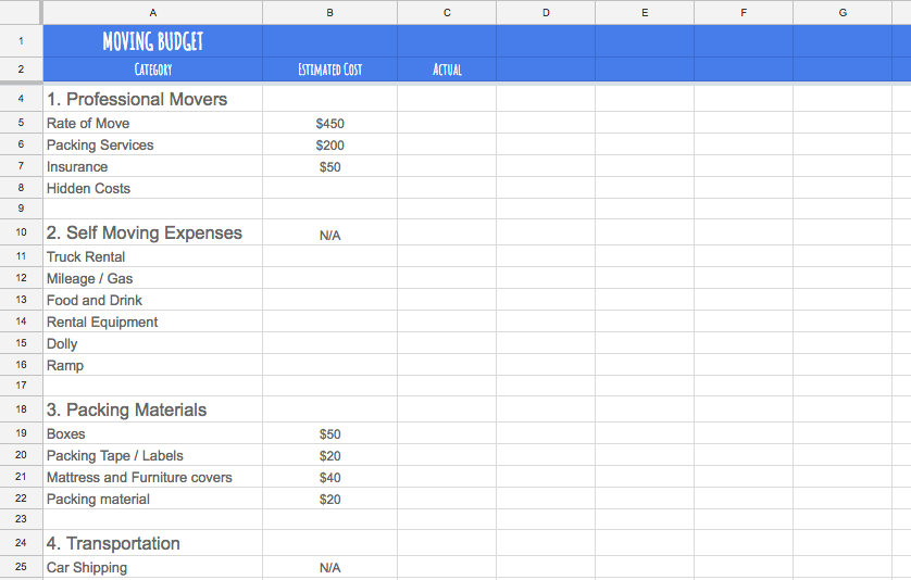 moving out budget template  Create a Realistic Moving Budget Using This Guide - moving out budget template