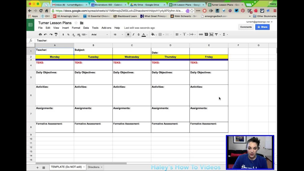 lesson plan template sheets  Creating Lesson Plans from a Template in Google Sheets ..
