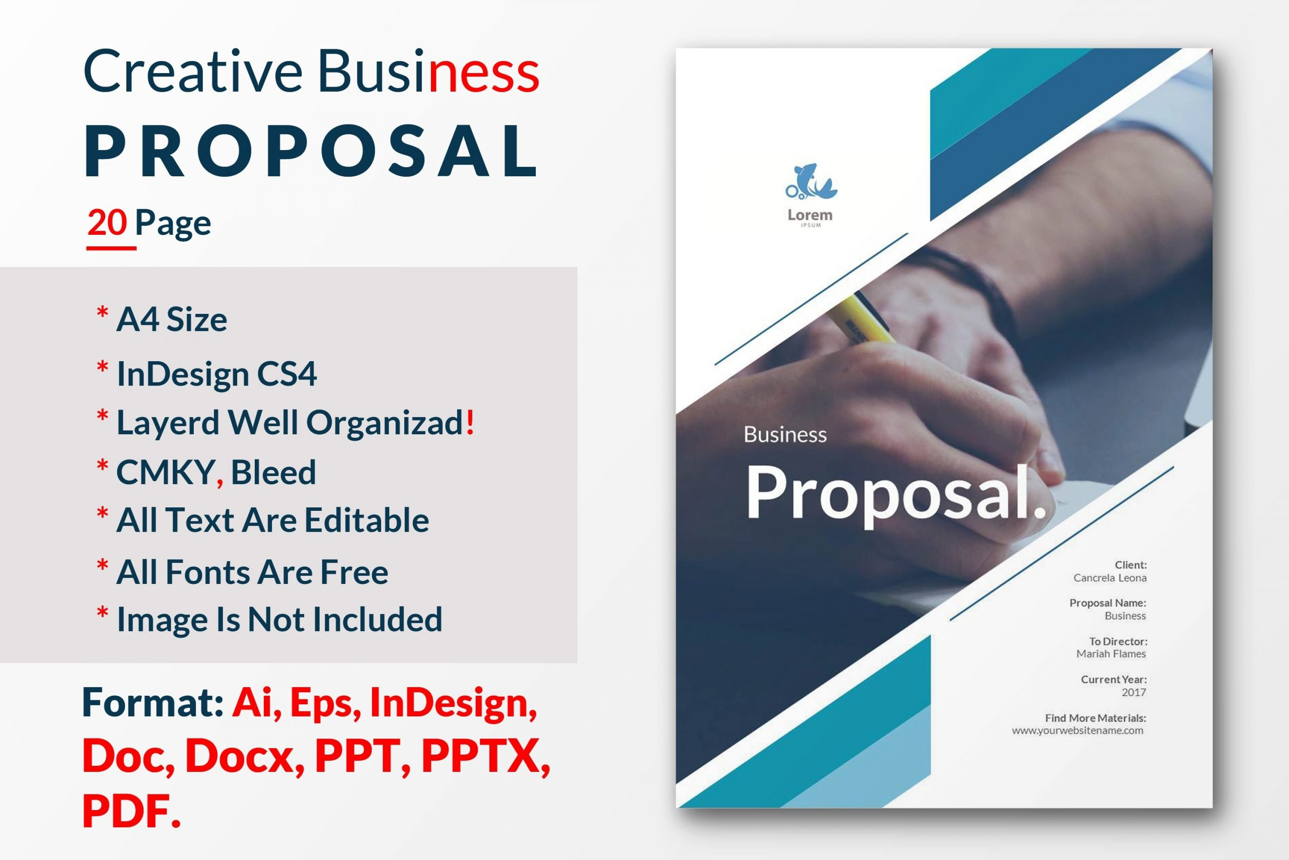 proposal template cover page  Creative Business Proposal Template ~ Brochure Templates ..