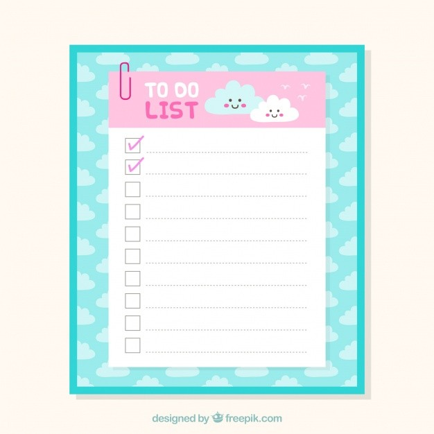 checklist template cute  Cute checklist template with clouds in flat design Vector ..