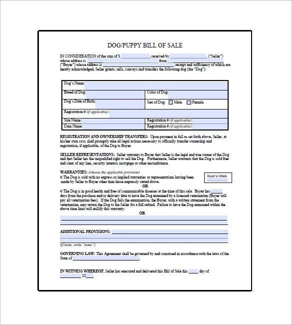 puppy contract template pdf  Dog Bill of Sale Template – 13+ Free Word, Excel, PDF ..