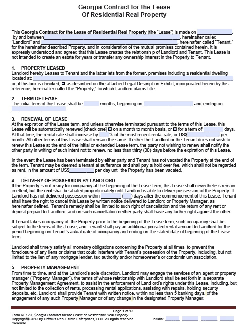 termination of contract template  Download Georgia Rental Lease Agreement Forms and ..