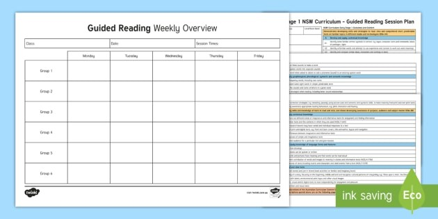 lesson plan template nsw  Early Stage 1 NSW Curriculum Guided Reading Planning ..