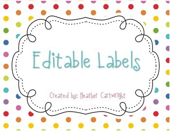 editable labels template  Editable Labels FREEBIE by Heather Cartwright | TpT - editable labels template