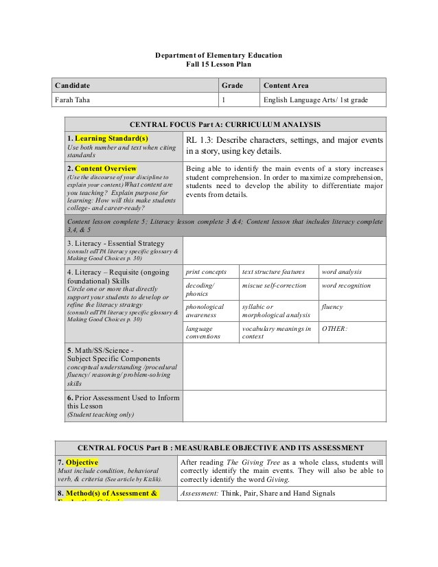lesson plan template edtpa  EED Lesson Plan Template - lesson plan template edtpa