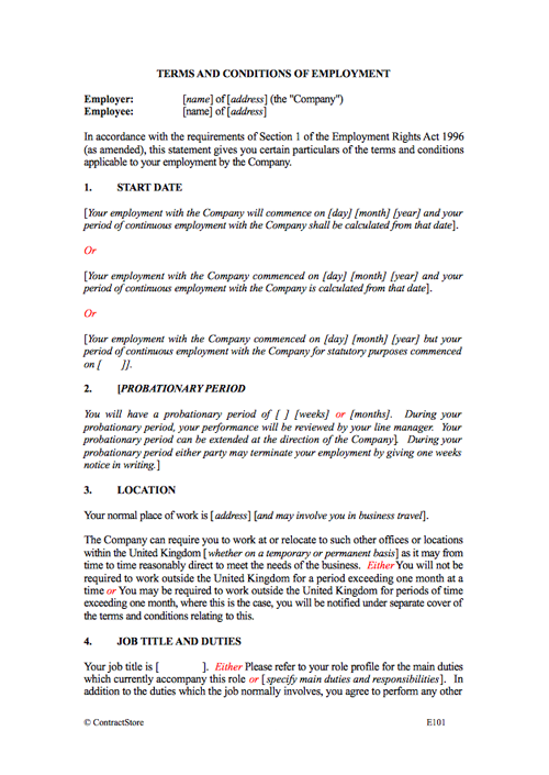 3 month probation contract template  Employment Contract Template (Permanent) | ContractStore - 3 month probation contract template