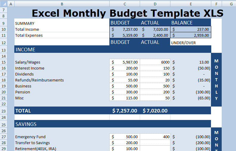 budget template xlsx  Excel Monthly Budget Template XLSX - Free Excel ..
