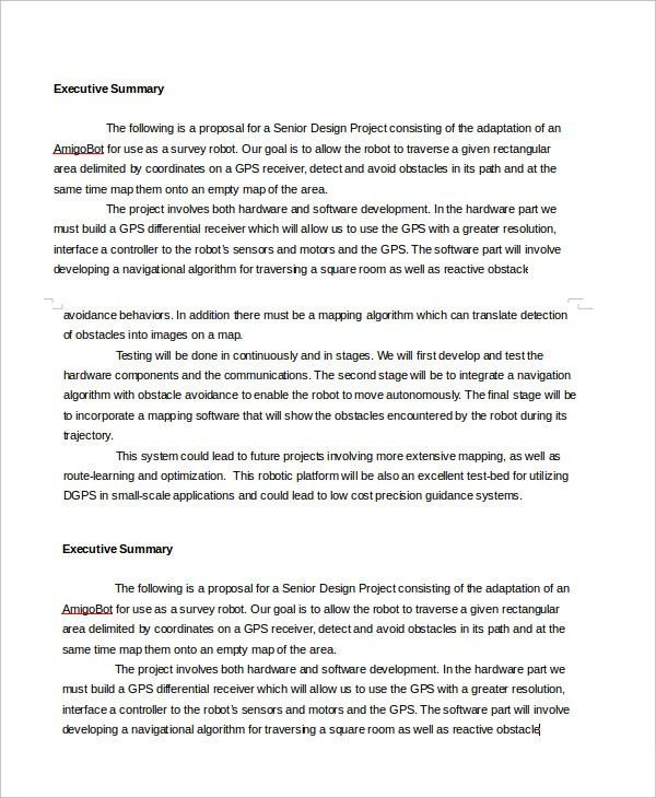 proposal template executive summary  Executive Summary Template - 8+ Free Word, PDF Documents ..