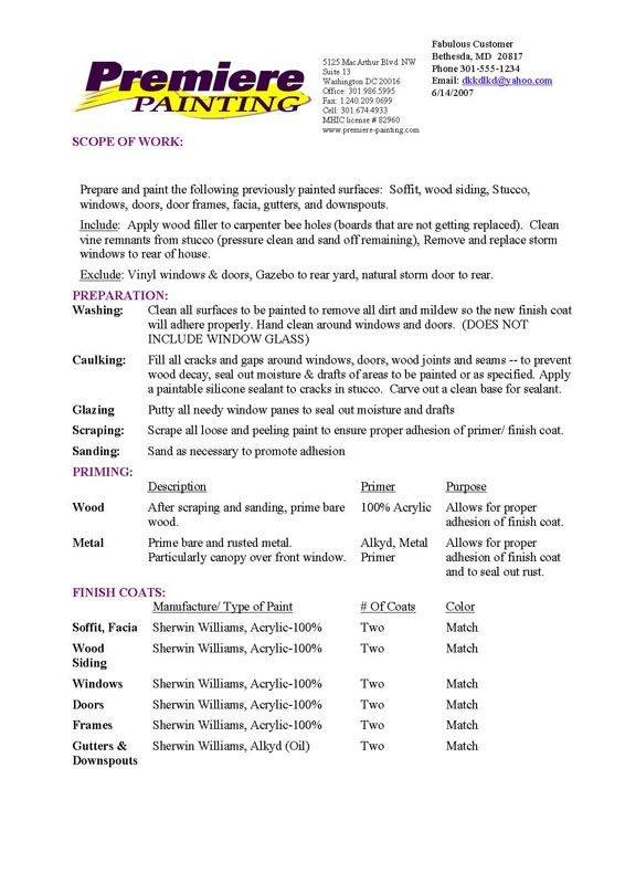 house cleaning contract template  Exterior Proposal Sample   Professional, Commercial ..