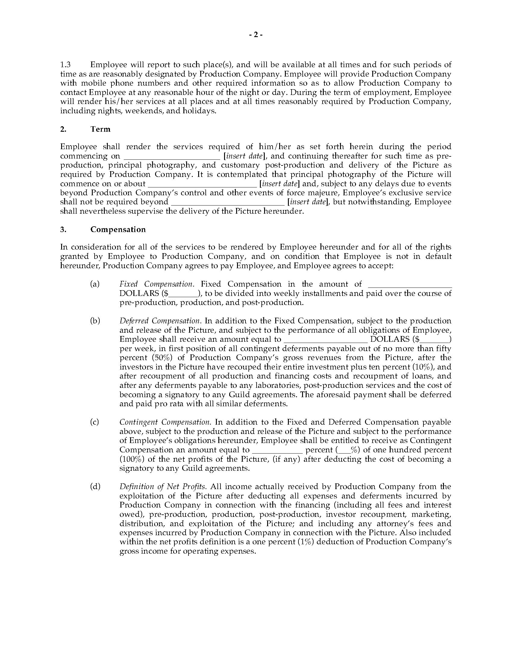 employment contract template ontario  Film Producer Employment Contract | Legal Forms and ..