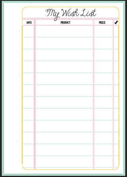 budget wish list template  Filofax Wish List Printable | Wendaful Planning - budget wish list template