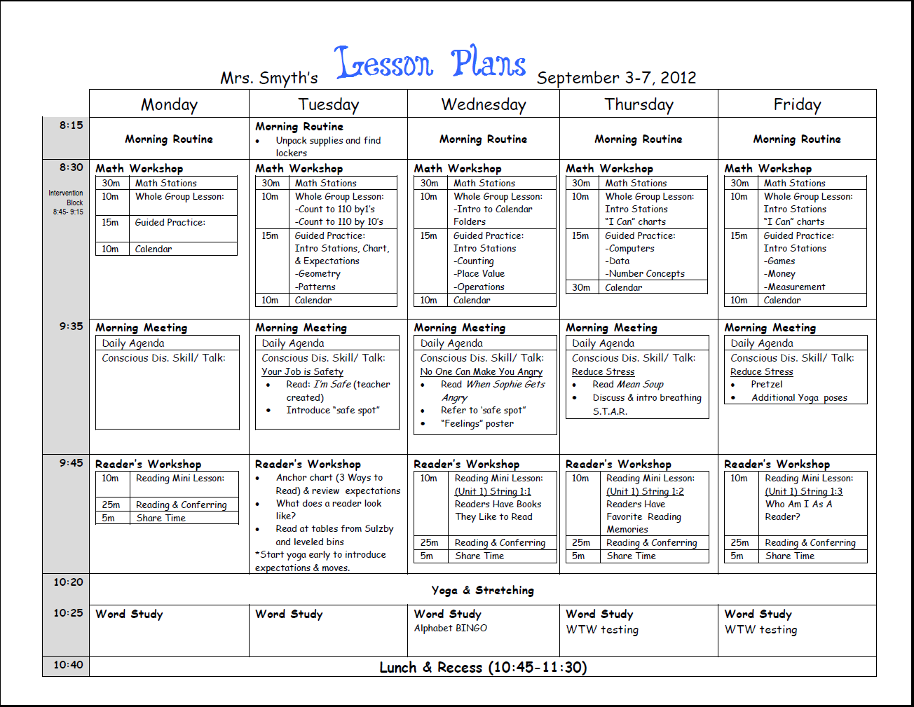 grade r lesson plan template  First week lesson plans done! | Weekly lesson plan ..