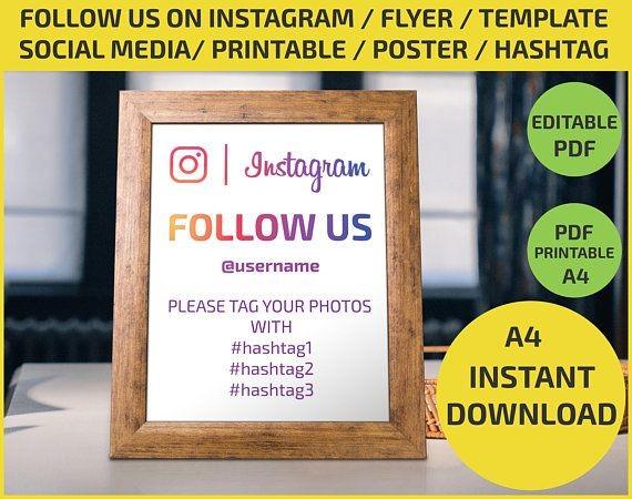 follow us flyer template  Follow Us on Instagram / Social Media /Check in / Like us ..