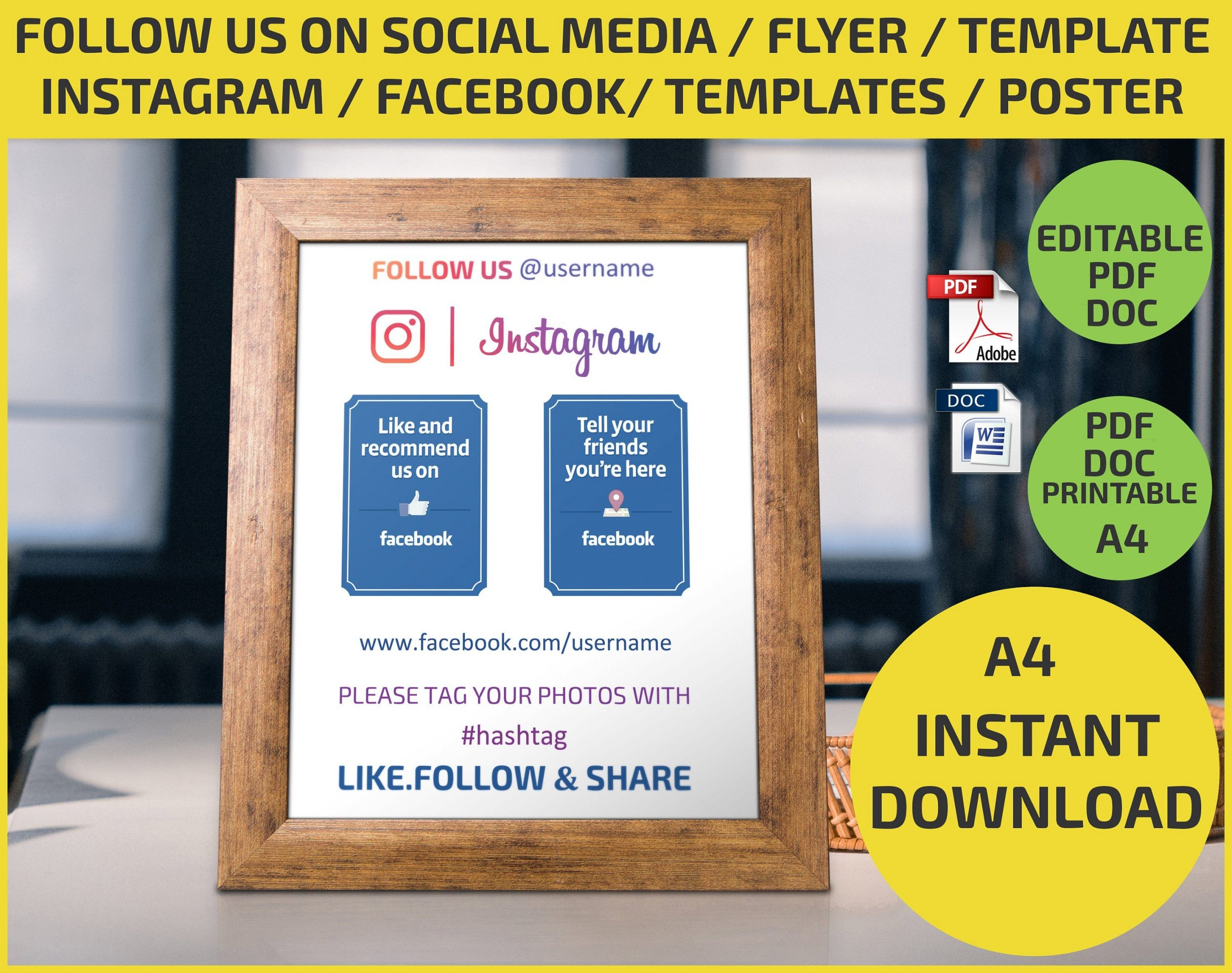 follow us flyer template  Follow Us on Social Media Check in / Like us / Share /   Etsy - follow us flyer template