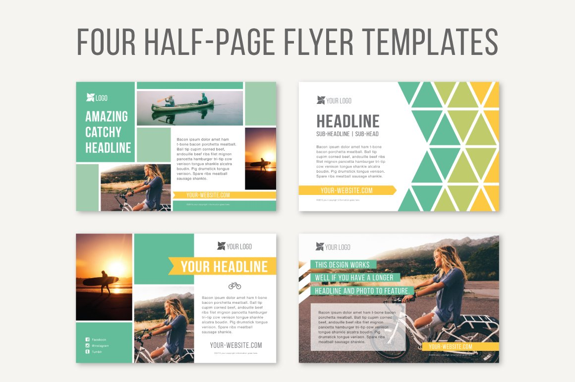 half page flyer template  Four Half-Page Flyer Templates ~ Templates ~ Creative Market - half page flyer template