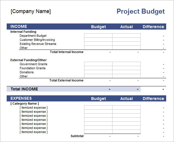budget template project  FREE 10+ Sample Budget Templates in Excel - budget template project