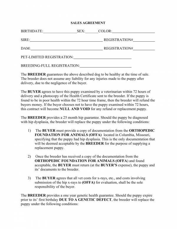 puppy contract template pdf  FREE 11+ Puppy Sales Contract Template in PDF | Word - puppy contract template pdf