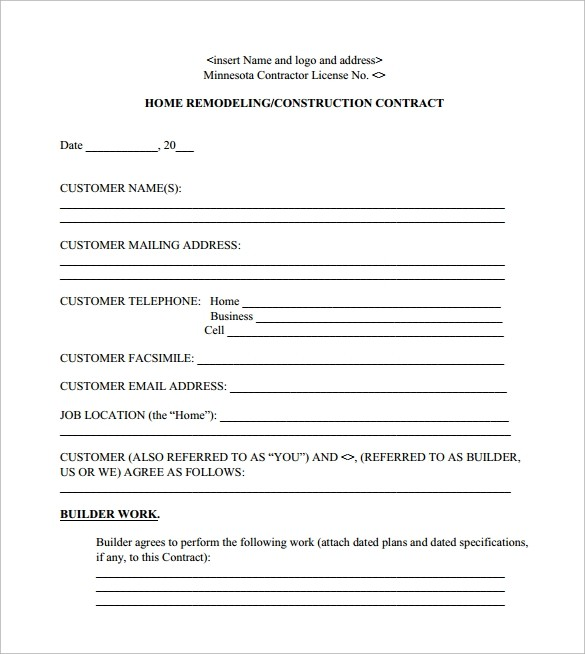 free remodeling contract template word  FREE 12+ Remodeling Contract Templates in Apple Pages ..