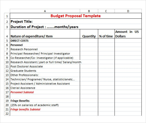 proposal template excel  FREE 20+ Sample Budget Proposal Templates in Google Docs ..