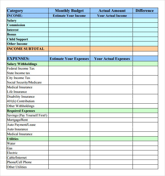 simple monthly budget template  FREE 7+ Budget Samples In PDF | Word - simple monthly budget template
