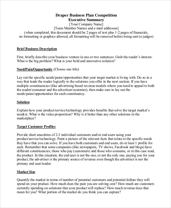business plan template executive summary example  FREE 8+ Sample Executive Summary Templates in PDF | MS Word - business plan template executive summary example