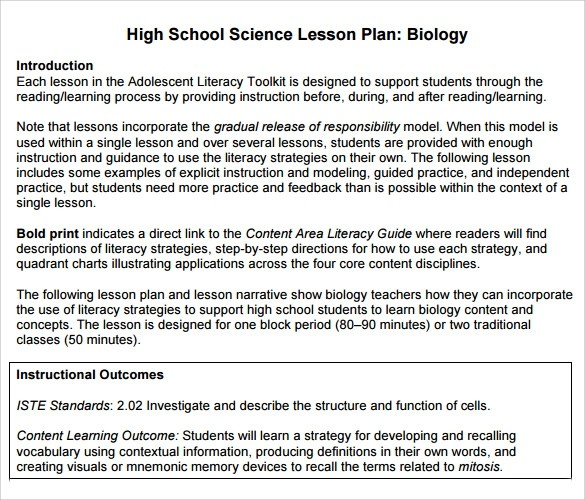 lesson plan template high school science  FREE 9+ Sample High School Lesson Plan Templates in PDF ..