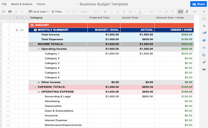 budget table template  Free Budget Templates in Excel | Smartsheet - budget table template