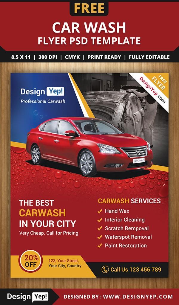 car wash flyer template  Free Car Wash Flyer PSD Template on Behance - car wash flyer template