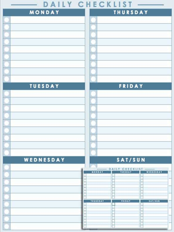 daily checklist template  Free Daily Schedule Templates for Excel - Smartsheet - daily checklist template