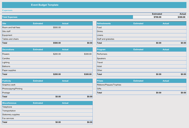 event budget template xls  Free Event Budget and Cost Planning Templates (Excel ..