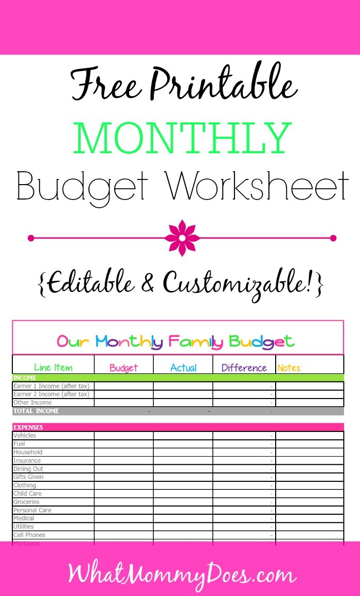 budget template monthly free  Free Monthly Budget Template - Cute Design in Excel - budget template monthly free