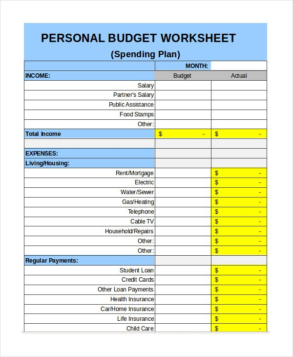 budget template personal  Free Personal Budget Template - 7+ Free Excel, PDF ..