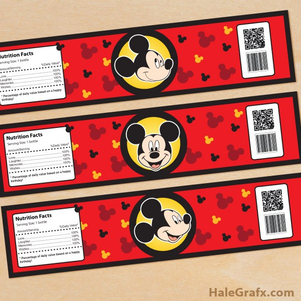 mickey mouse labels template  FREE Printable Mickey Mouse Water Bottle Labels - mickey mouse labels template
