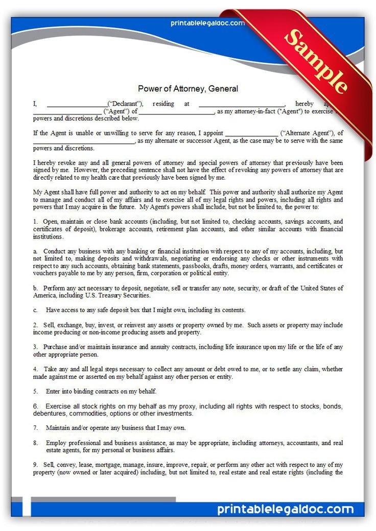 official contract template  Free Printable Power Of Attorney, General Legal Forms ..