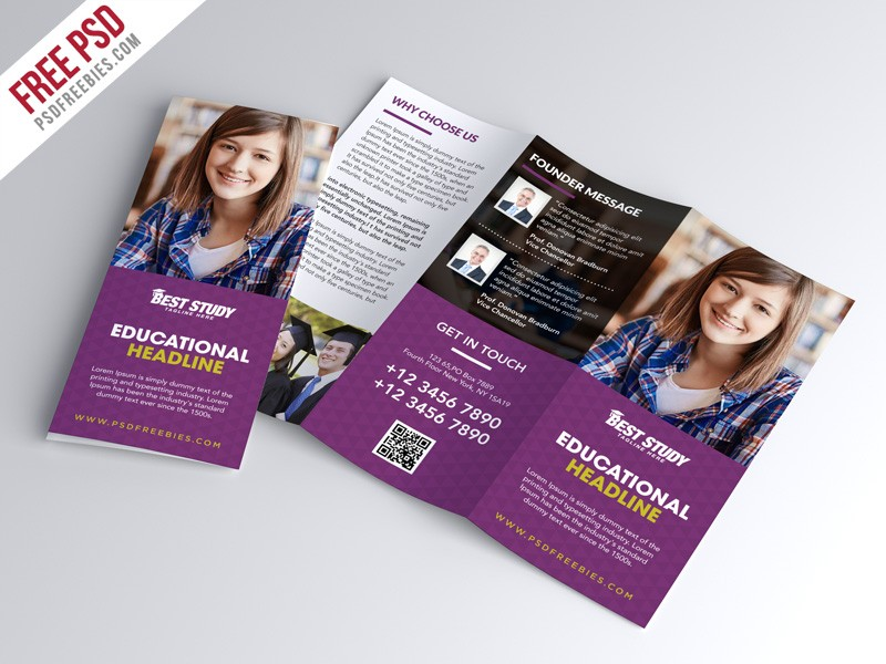 university flyer template free  Free PSD : University College Trifold Brochure PSD ..