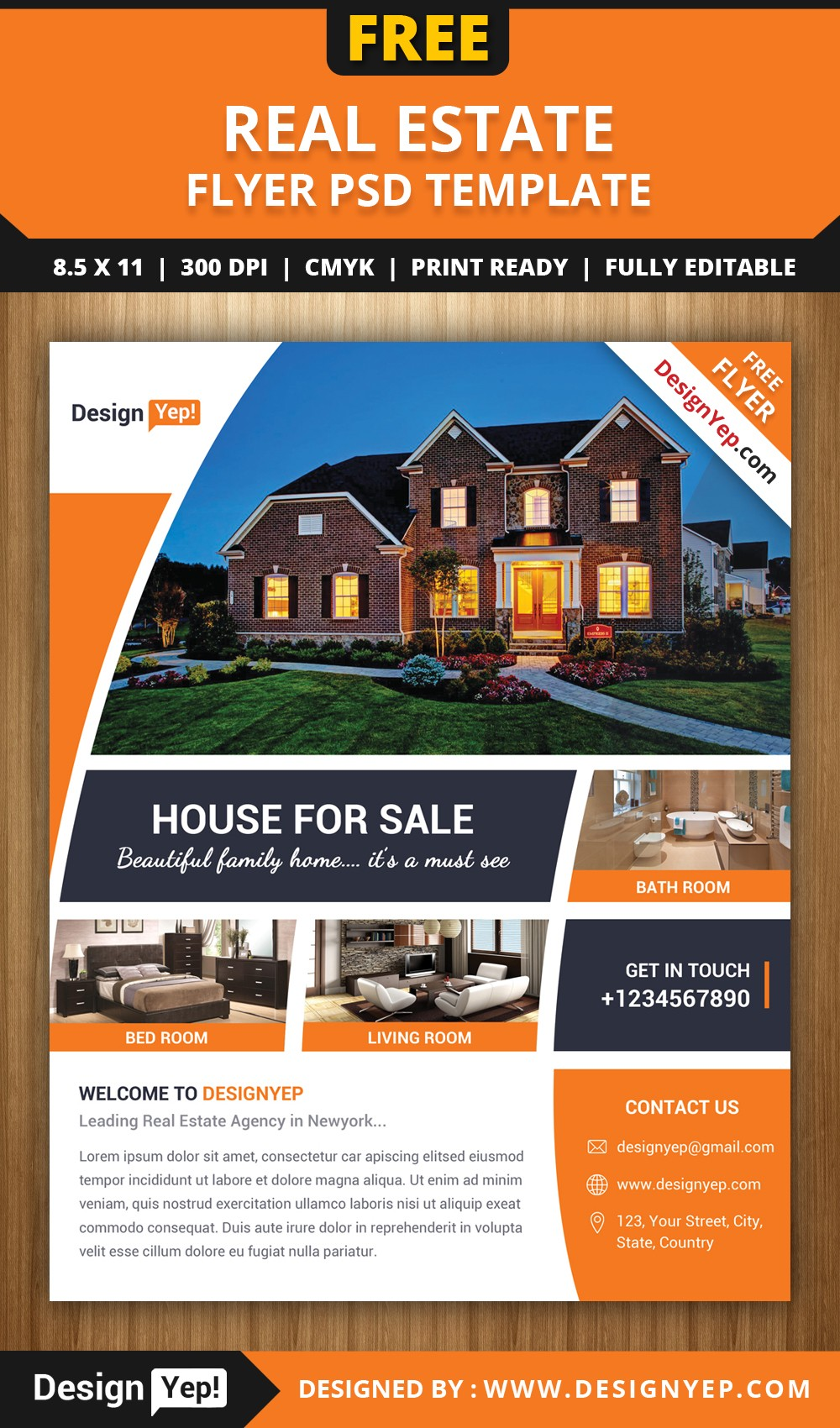 real estate flyer template free  Free Real Estate Flyer PSD Template - DesignYep - real estate flyer template free