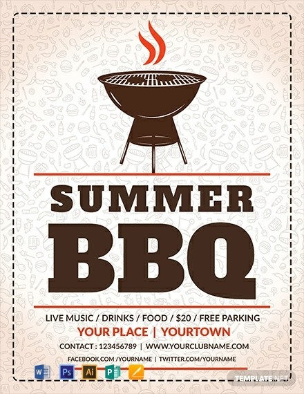 bbq flyer template  FREE Summer BBQ Flyer Template - Word | PSD | Apple Pages ..