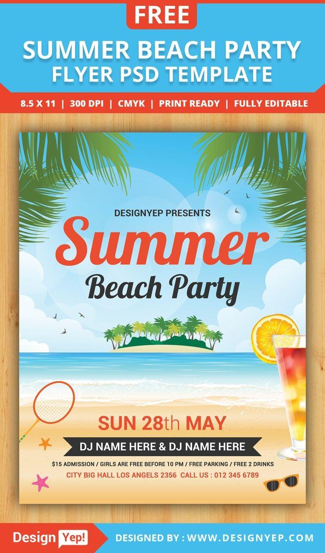 summer flyer template  Free Summer Beach Party Flyer PSD Template DesingYep ..